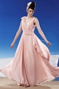 Beading Ruching Appliques V neck Chiffon Pink Evening Dress