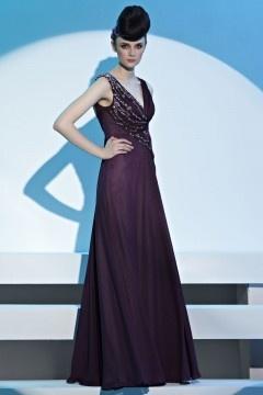 Fox robe de soirée col en v brillé ornée de strass en Mousseline