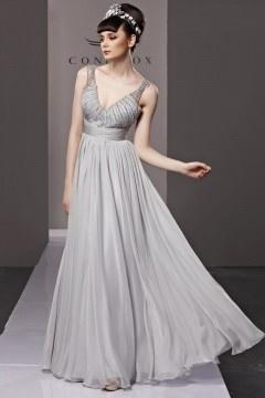 Fox robe de soirée col en v ornée de strass en tencel