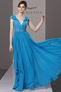 Beading Ruffles Ruching V neck Chiffon Blue Evening Dress