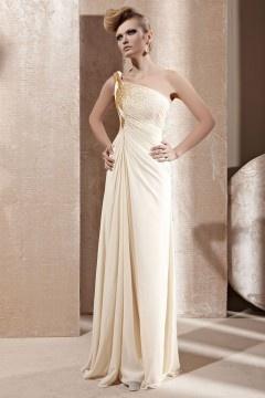 Fox robe de soirée seule épaule drapé or et blanc en tencel