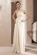 Beading Ruching One Shoulder Tencel Beige Evening Dress