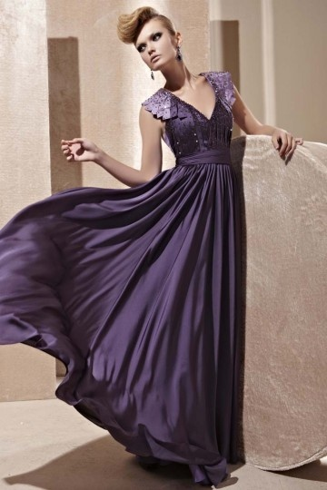 Dressesmall Beading Pleated V neck Silk A line Evening Dress