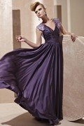 Beading Pleated V neck Silk A line Evening Dress