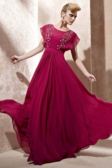 Dressesmall Beading Ruching Scoop Chiffon A line Evening Dress