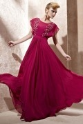 Beading Ruching Scoop Chiffon A line Evening Dress