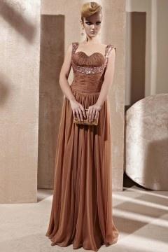 Fox robe de soirée paillettes strass ruché en dentelle et tencel