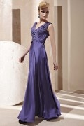Noble Beading Pleated V neck Silk Purple Evening Dress