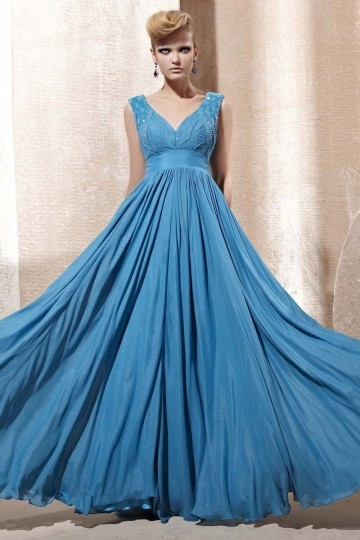Dressesmall Beading Ruching V neck Chiffon A line Evening Dress