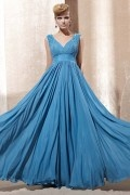 Beading Ruching V neck Chiffon A line Evening Dress