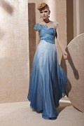 Beading Pleated Ombre Boat Neck Tencel Blue Evening Dress