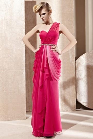 Dressesmall Beading Drapping Ombre One Shoulder Tencel Fuchsia Evening Dress