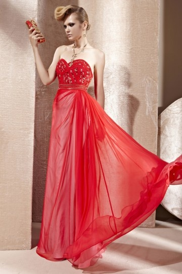 Dressesmall Beading Hand Tied Sequins Strapless Tencel Red Evening Dress