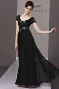 V-neck Black Beading Ruching Appliques Lace Long Tencel Evening Dress