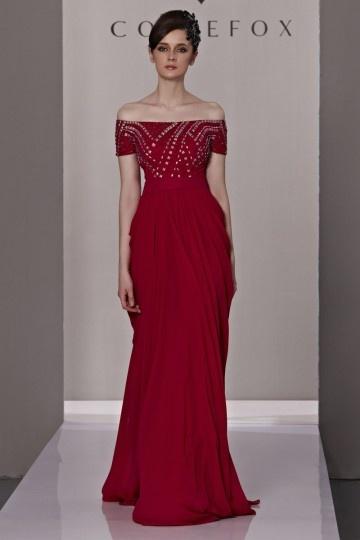 Dressesmall Beading Pleated Draping Strapless Chiffon Red Evening Dress