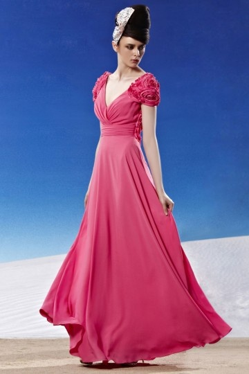 Dressesmall Ruching Handmade Flower V neck Chiffon Light Plum Evening Dress