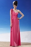 Ruching Appliques Draping One Shoulder Chiffon Light Plum Evening Dress