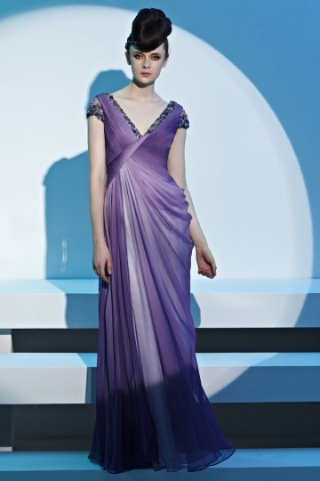 Dressesmall Beading Ruching Ombre Draping V neck Tencel Purple Evening Dress