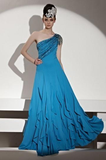 Dressesmall Beading Ruffles Tassels One Shoulder Chiffon Blue Evening Dress