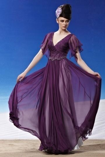 Dressesmall Beading Ruching Ruffles V neck Tencel Grape Evening Dress