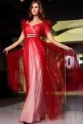 Provence robe de soirée rouge col en v en tulle