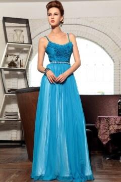 Provence robe de soirée bretelles bleu strass ruchée en tencel