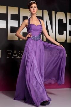 Provence robe de soirée pourpre col américain en tencel