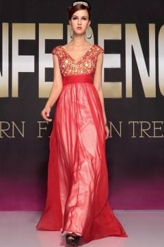 Provence robe de soirée chic col en v rouge en tencel