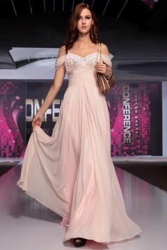 Provence robe de soirée tissé rose appliques en tulle
