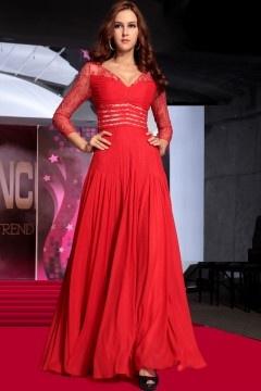 Provence robe de soirée élegante rouge en mousseline de soie