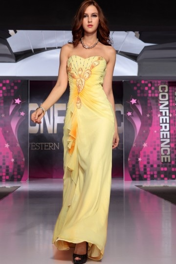 printed yellow formal evening dress