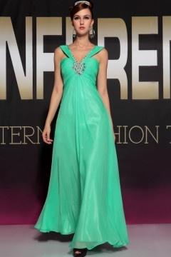 Battle Spectacular V neck Green Ruched Evening Dress