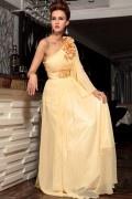 Robe chic empire ruchée à bijoux fleurs en mousseline jaune