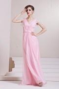 V-neck Beading Ruching Lace A-line Long Tencel Evening Dress