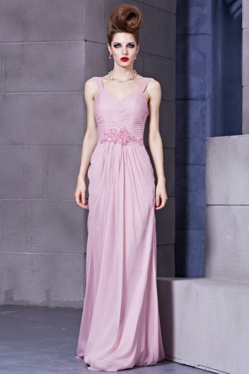 V-neck Beading Ruching Column Long Chiffon Evening Dress