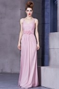 Beading Ruching V neck Chiffon Column Long Evening Dress