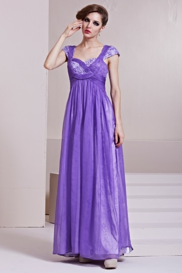 Dressesmall Beading Ruching Sequins Square Neck Tencel A line Long Evening Dress