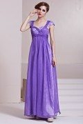 Beading Ruching Sequins Square Neck Tencel A line Long Evening Dress