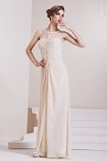 Beading Ruching Column Scoop Chiffon Long Evening Dress