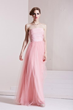 Graceful Ruching Strapless Tulle A line Long Evening Dress