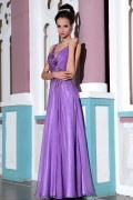 Chic Purple Tone Sleeveless Beading Ruched Floor Length Formal Dress