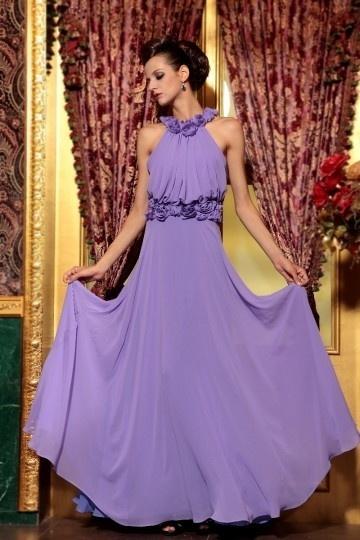 Chic Robe violette longue pour cocktail ou soirée