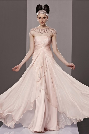 Dressesmall Noble Beaded Ruched A line Tencel Evening Dress