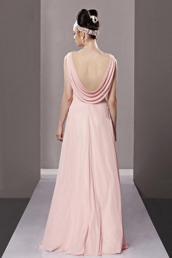 robe rose poudr mariage longue d collet en v orn de strass. Black Bedroom Furniture Sets. Home Design Ideas