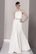 Halter Beading Ruched A line Chiffon Evening Dress