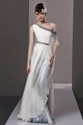 Vornehmes elegantes Ein Schulter A Linie Empire Perlen Falten Tencel Abendkleid