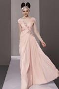 Robe rose chic enveloppe ruchée mousseline ornée de strass