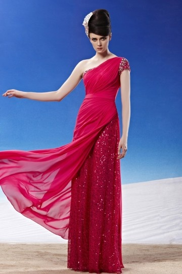 sequined long red formal evening dress