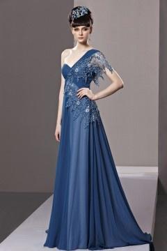 Luxuriöses Ein-SchulterA-Linie Empire Applikation gefaltetes Chiffon Abendkleid mit Pinsel-Schleppe