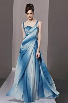Robe bleue de soirée drapée dos ouvert en tencel